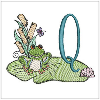 "Loungin Lily Pad - Q - Fits in a 4x4"" Hoop - Instant Downloadable Machine Embroidery"