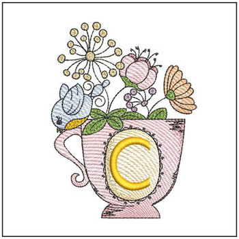 """Floral Finch Teacup C - Fits in a 5x7"""" Hoop - Instant Downloadable Machine Embroidery"""