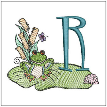 "Loungin Lily Pad - R - Fits in a 4x4"" Hoop - Instant Downloadable Machine Embroidery"