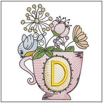 """Floral Finch Teacup D - Fits in a 5x7"""" Hoop - Instant Downloadable Machine Embroidery"""