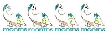 "Dinosaur Monthly Milestones Bundle 5-8- Fits into a 4x4"" & 5x7"" Hoop - Instant Downloadable Machine Embroidery"
