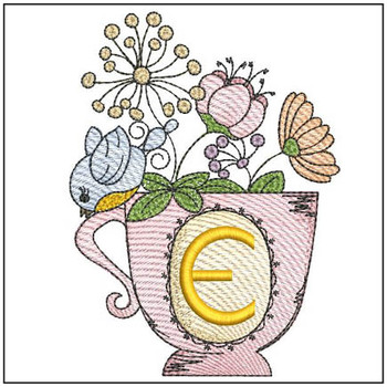 """Floral Finch Teacup E - Fits in a 5x7"""" Hoop - Instant Downloadable Machine Embroidery"""