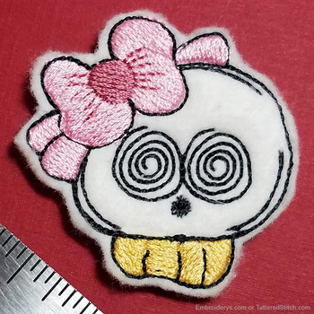 Sweet Skull Felty With Bow - Embroidery Designs