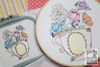 "Two Finches and Teacup - Fits a 4x4"" $ 5x7"" Hoop - Instant Downloadable Machine Embroidery"