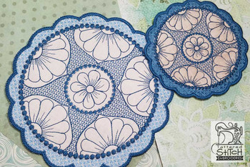 Floral Button Coaster - 3 - Embroidery Design
