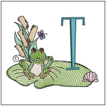 Loungin Lily Pad - T - Embroidery Designs