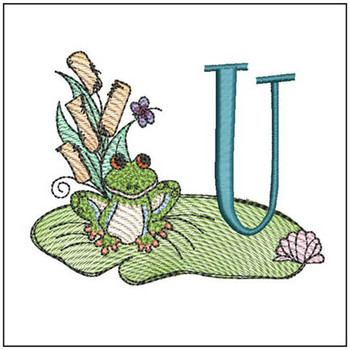 "Loungin Lily Pad - U - Fits in a 4x4"" Hoop - Instant Downloadable Machine Embroidery"