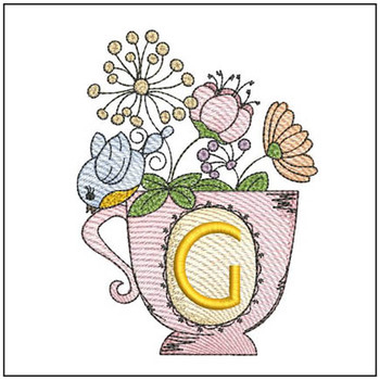 """Floral Finch Teacup G - Fits in a 5x7"""" Hoop - Instant Downloadable Machine Embroidery"""