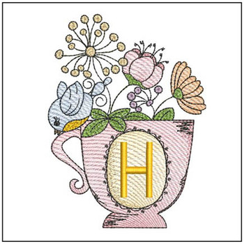 """Floral Finch Teacup H - Fits in a 5x7"""" Hoop - Instant Downloadable Machine Embroidery"""