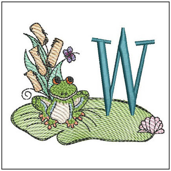 "Loungin Lily Pad - W- Fits in a 4x4"" Hoop - Instant Downloadable Machine Embroidery"