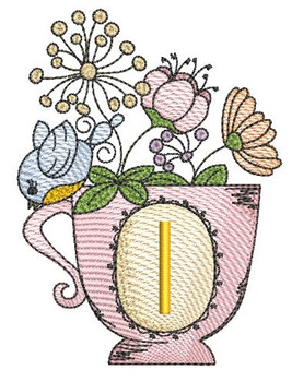 """Floral Finch Teacup I - Fits in a 5x7"""" Hoop - Instant Downloadable Machine Embroidery"""