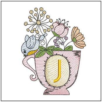 "Floral Finch Teacup J - Fits in a 5x7"" Hoop - Instant Downloadable Machine Embroidery"