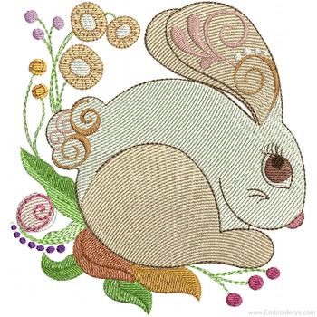 Elegant Garden Bunny - Embroidery Designs