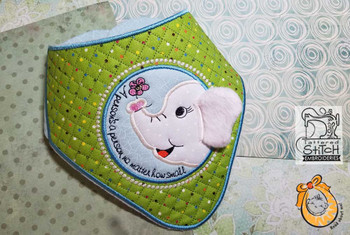 "Ellie Bandanna Bib - Uses a 4x4"" 5x7 and 8x12"" Hoop - Instant Downloadable Machine Embroidery"
