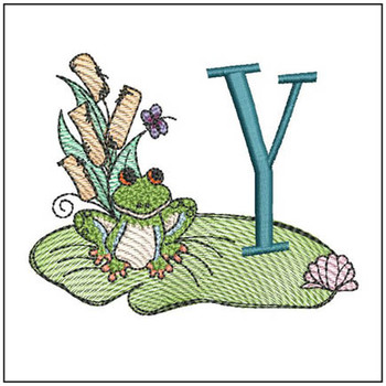 "Loungin Lily Pad - Y- Fits in a 4x4"" Hoop - Instant Downloadable Machine Embroidery"