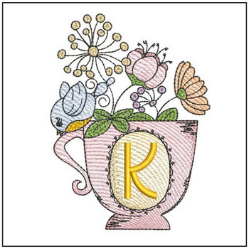 """Floral Finch Teacup K - Fits in a 5x7"""" Hoop - Instant Downloadable Machine Embroidery"""