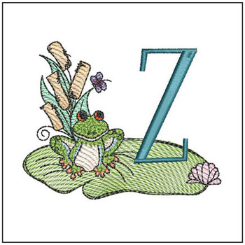 "Loungin Lily Pad - Z- Fits in a 4x4"" Hoop - Instant Downloadable Machine Embroidery"