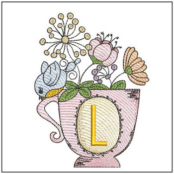 """Floral Finch Teacup L - Fits in a 5x7"""" Hoop - Instant Downloadable Machine Embroidery"""