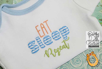 "Eat Sleep Repeat - Fits a 4x4 and 4x7"" Hoop - Instant Downloadable Machine Embroidery"