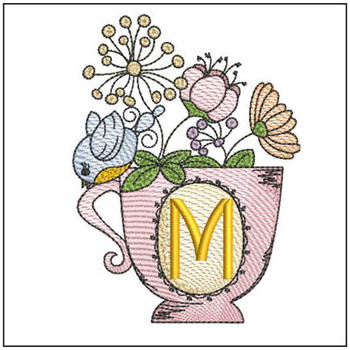"""Floral Finch Teacup M - Fits in a 5x7"""" Hoop - Instant Downloadable Machine Embroidery"""
