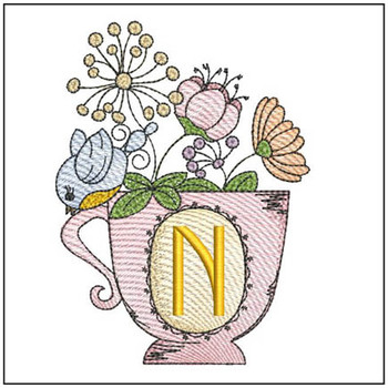 "Floral Finch Teacup N - Fits in a 5x7"" Hoop - Instant Downloadable Machine Embroidery"