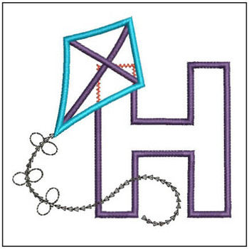 Flying High Kite Applique Font - H -Embroidery Designs