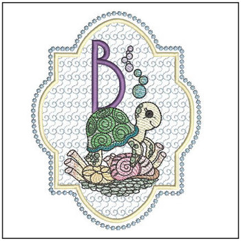 "Turtle ABC's - B  - Fits in a 5x7"" Hoop - Instant Downloadable Machine Embroidery"