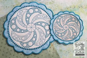Floral Button Coaster - 4 - Embroidery Design