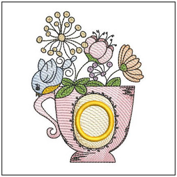"Floral Finch Teacup O - Fits in a 5x7"" Hoop - Instant Downloadable Machine Embroidery"