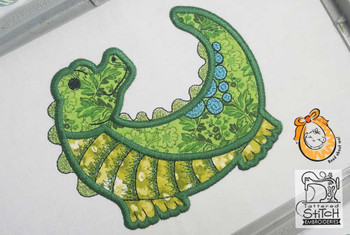 "Baby Alligator Applique - Fits a 4x4 and 5x7"" Hoop - Instant Downloadable Machine Embroidery"