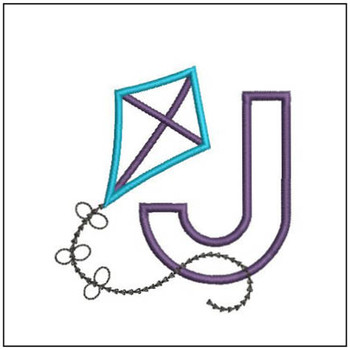 Flying High Kite Applique Font - J -Embroidery Designs