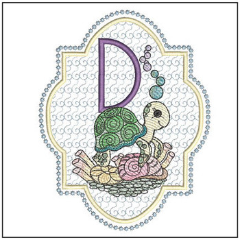 Turtle On Shells ABCs - D - Embroidery Designs