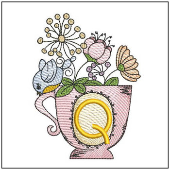 "Floral Finch Teacup Q - Fits in a 5x7"" Hoop - Instant Downloadable Machine Embroidery"