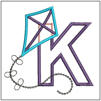 Flying High Kite Applique Font - K -Embroidery Designs