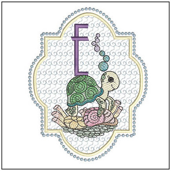 Turtle On Shells ABCs - E - Embroidery Designs
