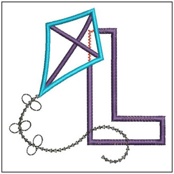 Flying High Kite Applique Font - L -Embroidery Designs