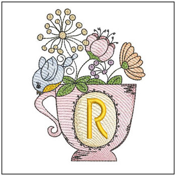 """Floral Finch Teacup R - Fits in a 5x7"""" Hoop - Instant Downloadable Machine Embroidery"""