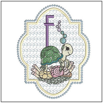 Turtle On Shells ABCs - F - Embroidery Designs