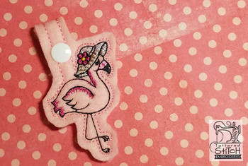 "Pink Flamingo Key Chain - Fits a 4x4"" Hoop - Instant Downloadable Machine Embroidery"
