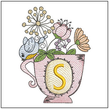 """Floral Finch Teacup S - Fits in a 5x7"""" Hoop - Instant Downloadable Machine Embroidery"""