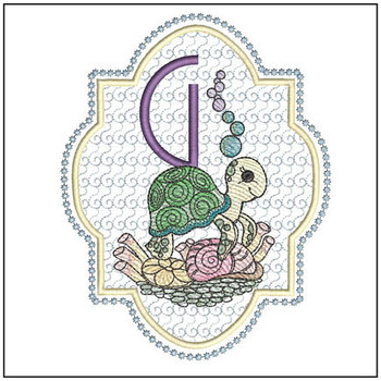 "Turtle ABC's -G - Fits in a 5x7"" Hoop - Instant Downloadable Machine Embroidery"