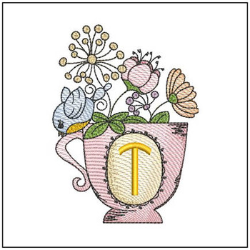 """Floral Finch Teacup T - Fits in a 5x7"""" Hoop - Instant Downloadable Machine Embroidery"""