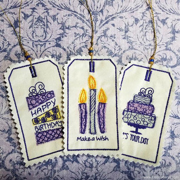 Birthday Celebration Gift Tags - Embroidery Designs