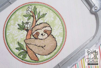 "Sloth Applique - Fits a 5x7 and 7x11"" Hoop - Instant Downloadable Machine Embroidery"