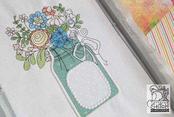 "Mason Jar Applique - Fits a 5x7 and 8x12"" Hoop - Instant Downloadable Machine Embroidery"