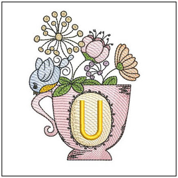 """Floral Finch Teacup U - Fits in a 5x7"""" Hoop - Instant Downloadable Machine Embroidery"""