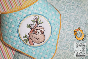 "Baby Sloth Bandanna Bib - Uses a  5x7 and 8x12"" Hoop - Instant Downloadable Machine Embroidery"