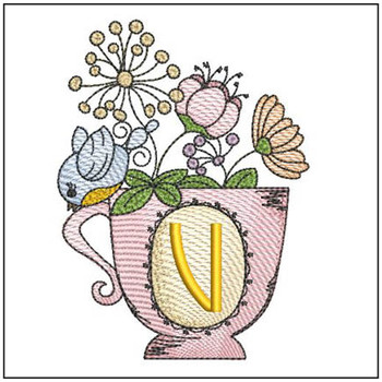 """Floral Finch Teacup V - Fits in a 5x7"""" Hoop - Instant Downloadable Machine Embroidery"""