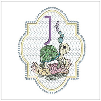 "Turtle ABC's - J- Fits in a 5x7"" Hoop - Instant Downloadable Machine Embroidery"