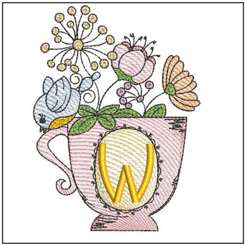 """Floral Finch Teacup W - Fits in a 5x7"""" Hoop - Instant Downloadable Machine Embroidery"""